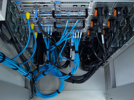 Foto de LAN cable use server of factory - Imagen libre de derechos