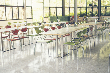 Photo for Tables and chairs empty in canteen - Royalty Free Image