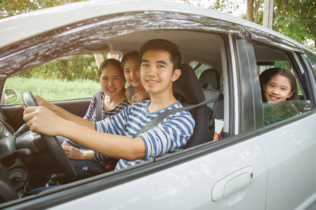 Photo for Happy Asian family on  van are smiling and driving for travel on vacation - Royalty Free Image