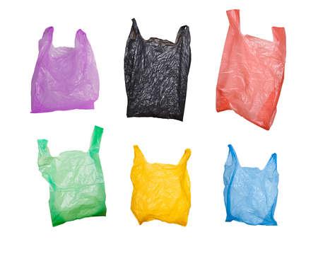 Foto de collection of various plastic bags isolated on white  - Imagen libre de derechos