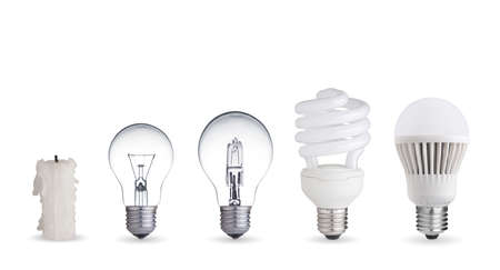 Foto de Candle, tungsten bulb,fluorescent,halogen and LED bulb - Imagen libre de derechos