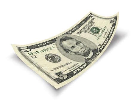 Foto de five dollar banknote isolated on white background - Imagen libre de derechos