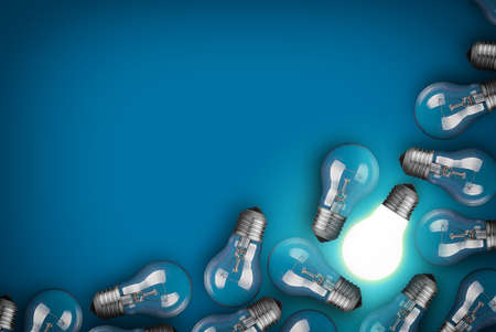 Photo for Idea concept with light bulbs on blue background - Royalty Free Image