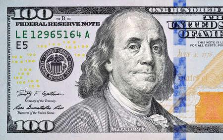 Foto de one hundred dollar bill closeup - Imagen libre de derechos