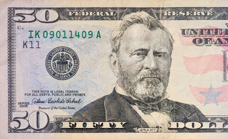 Foto de Macro shot of a 50 dollar - Imagen libre de derechos