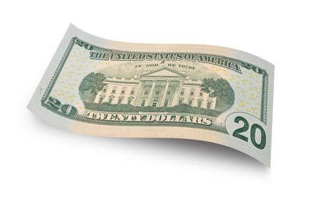 Foto de Back of twenty dollar banknote isolated on white background - Imagen libre de derechos