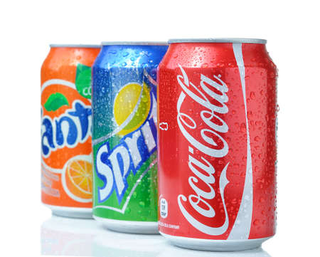 Foto de SOFIA, BULGARIA - APRIL 27, 2013: Coca-Cola, Fanta and Sprite Cans Isolated On White. The three drinks produced by the Coca-Cola Company - Imagen libre de derechos