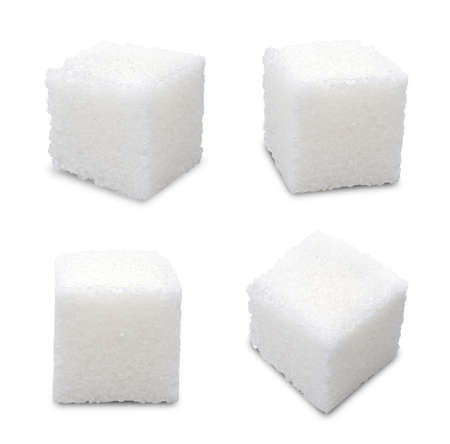 Photo for Set of sugar cubes on white background - Royalty Free Image
