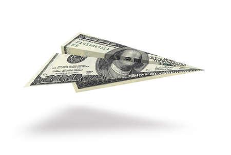Foto de One hundred dollar plane isolated on white background - Imagen libre de derechos