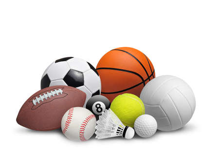 Photo pour Set of sport balls isolated on white background - image libre de droit