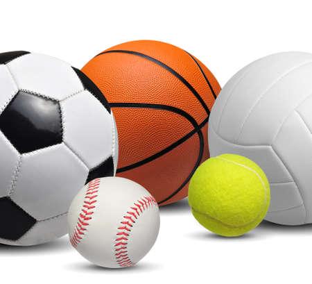 Set of sport balls isolated on white background