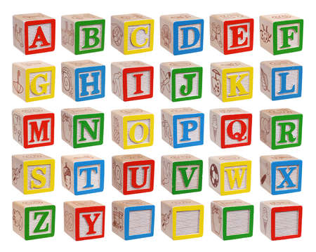 Photo pour Wooden alphabet blocks isolated on white background - image libre de droit