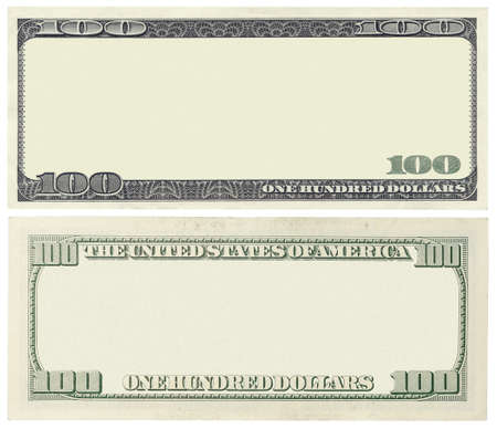 Photo pour Blank 100 dollar banknote isolated on white - image libre de droit