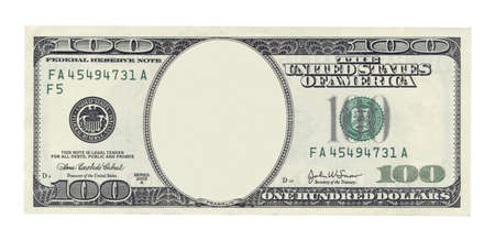 Foto de Blank one hundred dollar banknote isolated on white - Imagen libre de derechos