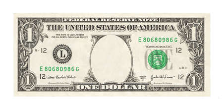 Photo pour Blank 1 dollar banknote isolated - image libre de droit