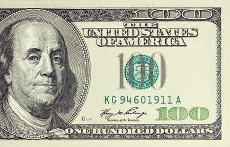 Foto de Closeup photo of 100 dollar bill - Imagen libre de derechos