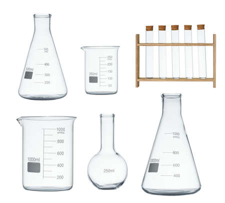 Foto de Laboratory glassware set isolated on white background - Imagen libre de derechos
