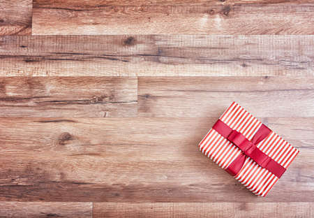 Photo for gift box on wooden table, christmas , birthday, mother's day or valentine background - Royalty Free Image