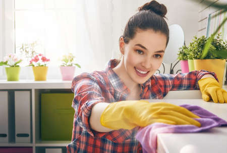 Foto de Beautiful young woman makes cleaning the house. Girl rubs dust. - Imagen libre de derechos