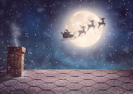Photo for Merry Christmas and happy holidays! Santa Claus flying in his sleigh on background moon sky. Christmas story concept. - Royalty Free Image