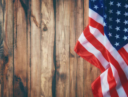 Photo for Patriotic holiday. USA are celebrate 4th of July. Close up of American flag. - Royalty Free Image