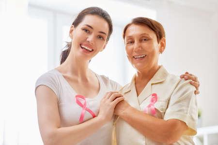 Foto de Pink ribbon for breast cancer awareness. Support people living with tumor illness. - Imagen libre de derechos