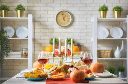 Foto de Happy Thanksgiving Day! Autumn feast. Family traditional dinner. Food concept. Celebrate holidays. - Imagen libre de derechos