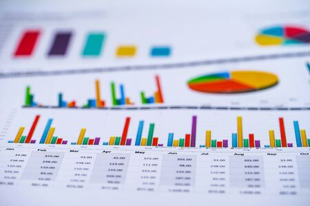 Foto de Charts Graphs spreadsheet paper. Financial development, Banking Account, Statistics, Investment Analytic research data economy, Stock exchange Business office company meeting concept. - Imagen libre de derechos