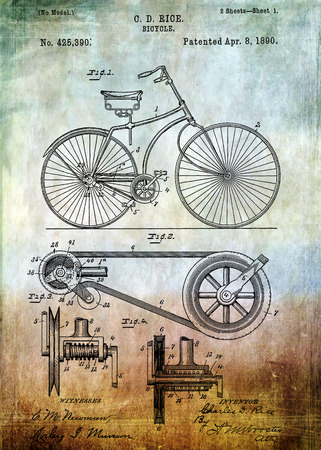 Photo pour Bicycle patent from 1890 Patent Art - Fine Art Photograph Based On Original Patent Artwork Researched  And Enhanced From Us Patent Office - image libre de droit