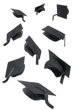 Selection of graduation caps on a white background