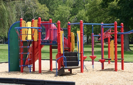 A colorful set of bars in an empty playground
