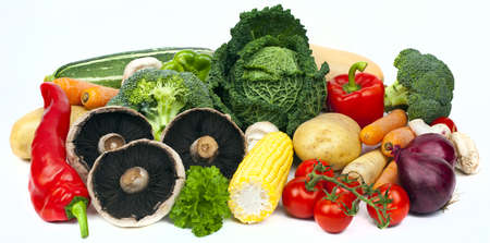 Assortment of Vegetables on a white background.