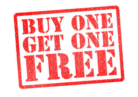 Photo for BUY ONE GET ONE FREE Rubber Stamp over a white background. - Royalty Free Image