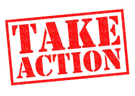 Photo pour TAKE ACTION red Rubber Stamp over a white background. - image libre de droit
