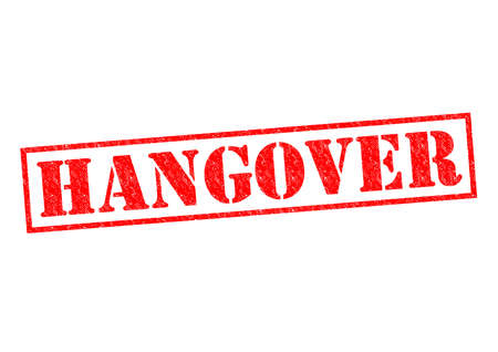 Foto de HANGOVER red Rubber Stamp over a white background. - Imagen libre de derechos