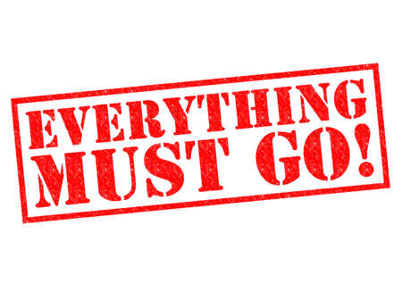 Photo pour EVERYTHING MUST GO! red Rubber Stamp over a white background. - image libre de droit