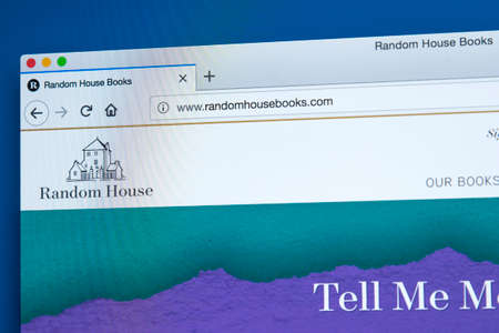 Foto de LONDON, UK - JANUARY 8TH 2018: The homepage of the official website for Random House - the American publishing company, on 8th January 2018. - Imagen libre de derechos