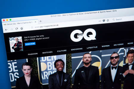 Foto de LONDON, UK - JANUARY 8TH 2018: The homepage of the official website for GQ - the international monthly magazine for men, on 8th January 2018. - Imagen libre de derechos