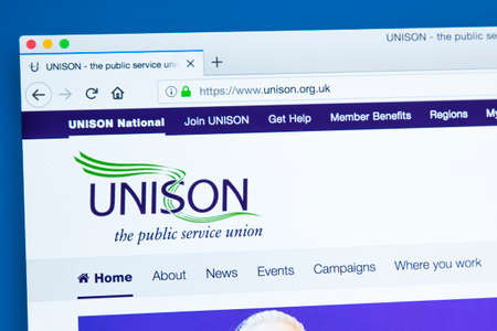 Photo for LONDON, UK - JANUARY 8TH 2018: The homepage of the official website for the UNISON trade union - members are usually from industries within the public sector, on 8th January 2018. - Royalty Free Image