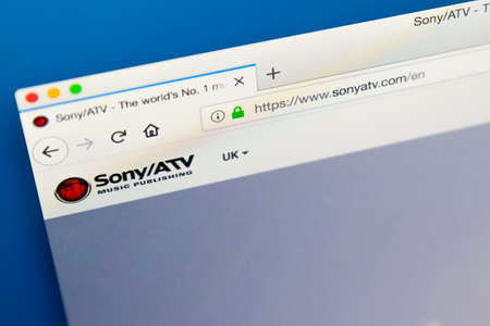 Foto de LONDON, UK - MAY 29TH 2018: The homepage of the official website for Sony ATV Music Publishing - the American music publishing company owned by Sony, on 29th May 2018. - Imagen libre de derechos