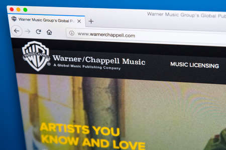 Foto de LONDON, UK - MAY 29TH 2018: The homepage of the official website for Warner Chappell Music - the American music publishing company, on 29th May 2018. - Imagen libre de derechos