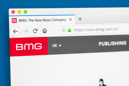 Foto de LONDON, UK - MAY 29TH 2018: The homepage of the official website for BMG Rights Management - the international music company focused on music publishing, recording rights and distribution, on 29th May 2018. - Imagen libre de derechos