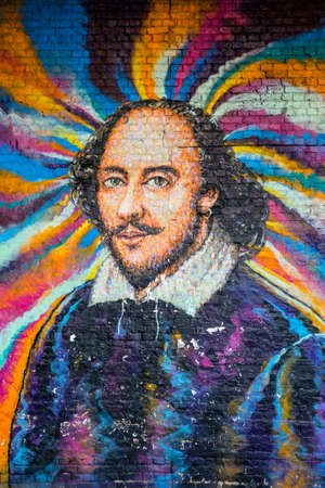Photo for London, UK - April 1st 2019: A graffiti artwork of famous playwright William Shakespeare in central London, UK. - Royalty Free Image