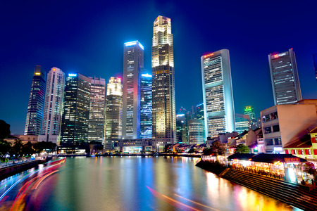 Photo for This image shows boat quay in Singapore - Royalty Free Image