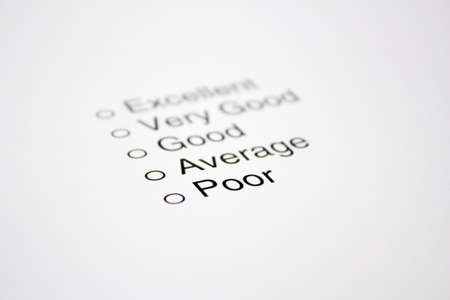 Feedback Questionnaire focused on the word Poor but with no tick
