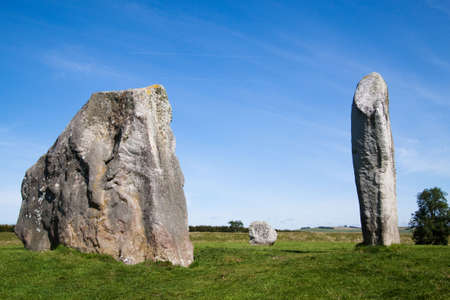 Three of the many huge monoliths in the neolithic stone circle at Avebury, Wiltshire, uk