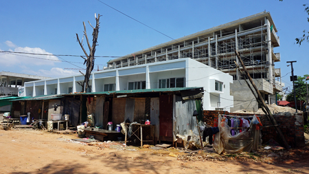 Foto de Otres, Sihanoukville district, Cambodia - March 2018:Construction sides - Imagen libre de derechos