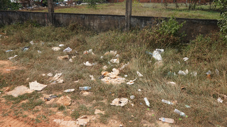 Foto de Otres, Sihanoukville district, Cambodia - March 2018: Pollution with garbage - Imagen libre de derechos