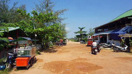 Foto de Otres, Sihanoukville district, Cambodia - March 2018: Local houses in the small Village - Imagen libre de derechos