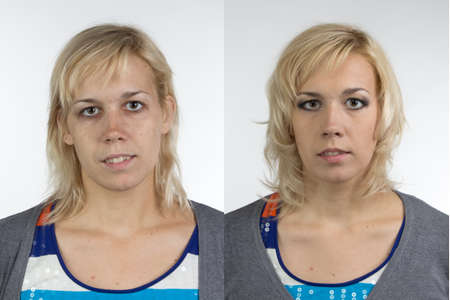 Photo for Portrait of woman before and after make up - isolated photo - Royalty Free Image